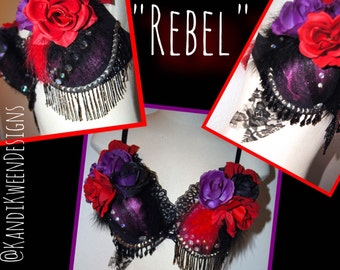 "Edgy ""Rebel"" Rave Bra, Rave Outfit, Custom Bra, Rave Wear"