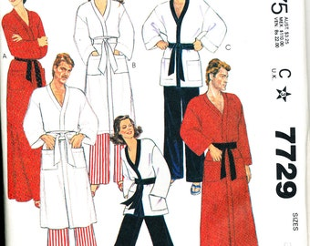 McCall's 7729 UNCUT Robe, Pants for Misses or Men X-Large