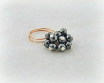 wire ring jewelry copper ring, wire wrapped copper ring, wire wrapped jewelry handmade, copper jewelry, hematite jewelry ring