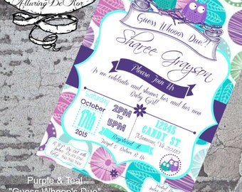 """Purple & Teal """"Guess Whooo's Due"""" Baby Shower Invitation"""