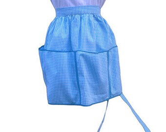 Vintage Ladies Apron - Blue with 4 large pockets (#5)