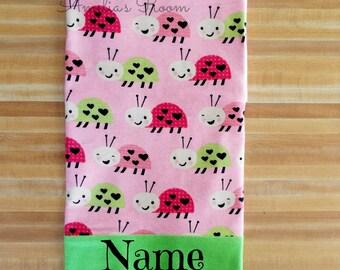 Lucky Lady Bug Pillowcase, Lady Bugs, Girls Pillowcase, Bugs, Pillowcase, Girls, Embroidered, Monogrammed, Personalized