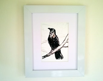 Crow print, from original ink painting, contemporary wall art.