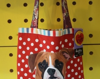 Boxer Tote Bag (pin included)