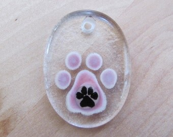 Hand-Painted Glass Pendant, Pink Rose, Paw Print Accent