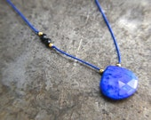"""16"""" Blue Silk Cord Necklace / Small Lapis Necklace / Black Spinel / Genuine 24k Gold Plate Over Sterling Silver / Gift Under 100 dollars"""