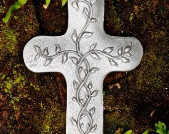 Vine Cross Pewter Wall Plaque