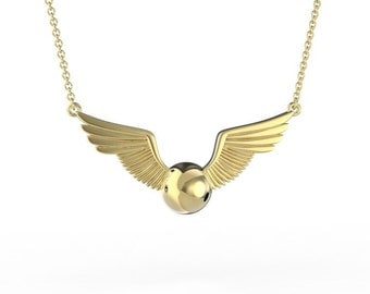 Snitch Necklace in Brass inspired by Harry Potter