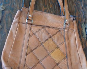 Vintage Leather Brown Tan Purse Handbag Satchel Bag