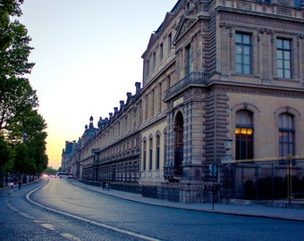 Paris Fine Art Print, Louvre at Sunset, Musee du Louvre, Architecture Photography, Parisian Street, Paris at Night, Quai François Mitterrand
