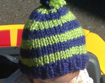 Hand knit striped Seahawks hat for children! Let your little one show their team spirit!