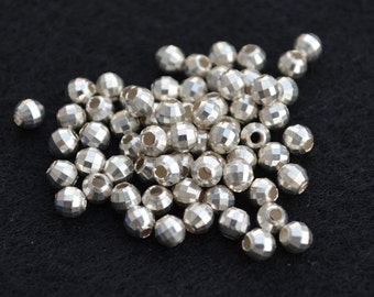 Silver Beads - 4mm DISCO CUT -Sterling Silver - Spacer Beads -Italian Made-Faceted Mirror-Disco Ball Spacer Bead-Bulk Qty