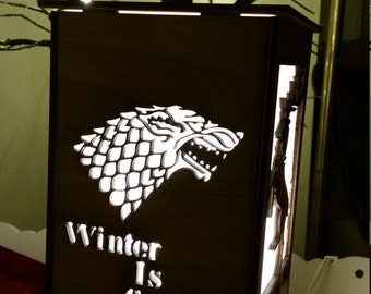 Game of Thrones Laser cut Wooden Lamp (House Stark: Winter Is Coming, House Lannister, House Baratheon, House Targaryen)