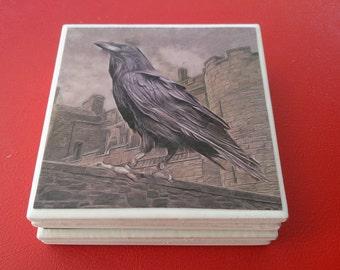 Black Raven Coaster Set