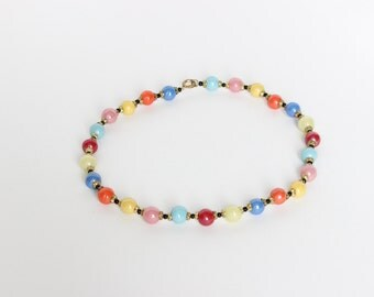 Vintage Beautiful Colourful Glass Bead Necklace