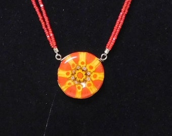 Fused glass necklace--vermillion and straw yellow millefiori