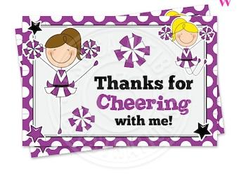 Purple Cheerleader Printable Thank You, 4X6 Cheerleader Party Thank You Note, Cheer Party Printable Thank You, Cheerleading Thank You Card