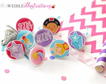 Girls Gymnastics Printable 1 Inch Circles, Bottle Cap Circles, Printable Gymnast Circles, Printable Candy Circles, Gymnastics Party Circles