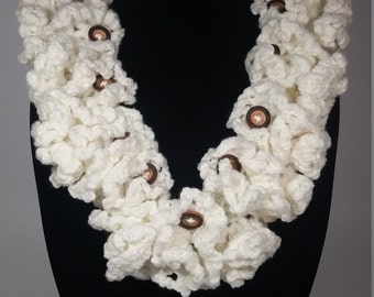 Ruffled Cowl with Button Acccents