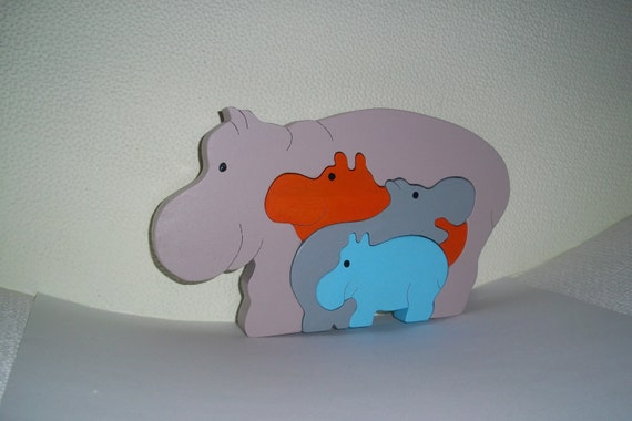 "Wooden puzzle ""Hippos"""