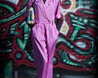 Fuschia Vintage Lapeled Jumpsuit with Pockets