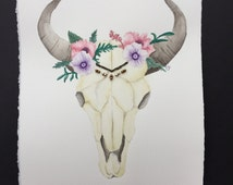Bull Skull with Flowers, Chain and Beads