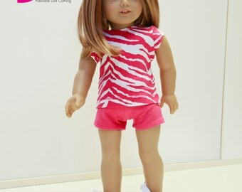 Special Sale American made Girl Doll Clothes, made to fit like American girl doll clothes, Zebra Top and Hot Pink Shorts