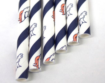 Denver Broncos Party Straws - Pack of 24 - NFL Football Party, Tailgate Party, Superbowl Party