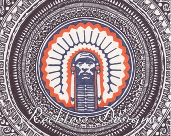 University of Illinois Tribal Print Poster