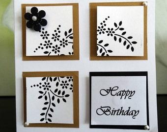 Handmade Birthday Card - Black and Gold Design