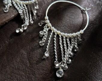 White Dangle Hoop Earrings