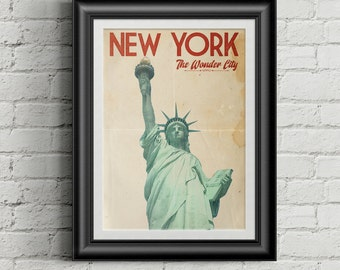 Vintage/Retro Travel Poster New York -  The Wonder City. Collect the set! - Instant Download