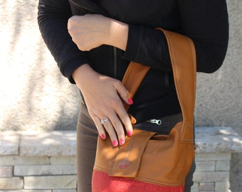 the bucket red and camel bag