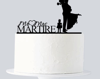 Bride and Groom Wedding Cake Topper - Custom Last Name with baby Girl A998