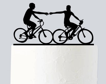 Bicycle Cake Topper, Wedding Cake Topper, Couple Silhouette, Acrylic Cake Topper for Wedding A974