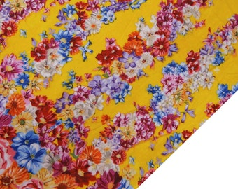 """Indian Dress Fabric, Yellow Fabric, Floral Print Fabric, Home Accessories, Sewing Fabric, 42"""" Inch Cotton Fabric By The Yard ZBC7109A"""