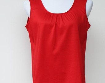 Vintage red cami top blouse ladies womens hippie hipster classic tank top German Frankenwälder bright red summer top - made in West Germany