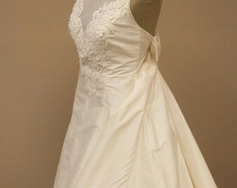 vintage 1990s wedding dress with train - silk wedding gown