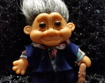 "Vintage Russ Grandpa Troll Doll. UNOPENED! 5"" height"