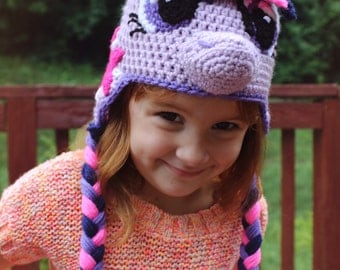 Twilight Sparkle Costume, My Little Pony Costume Crochet Hat, My Little Pony Beanie, Crochet Girls Hat