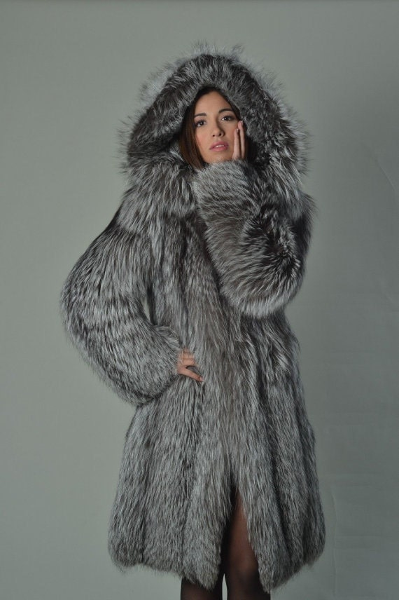 Silver Fox Fur Coat Women's Hooded Knee Length/ Luxury