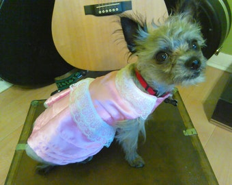 Pink Satin Special Occasion Dog Dress