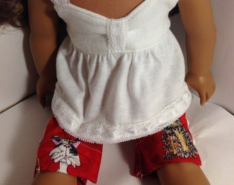 Red print capris and white knit top for your favorite 18 inch doll