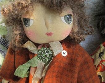 Folk art doll, primitive, ooak, Halloween, hand made, SWEET INA