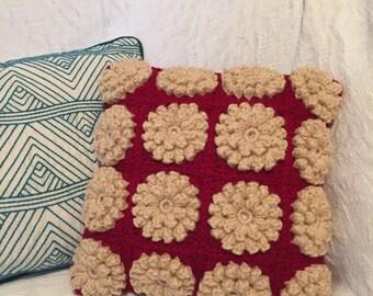 """12"""" x 12"""" Crochet Popcorn Flower Pillow"""