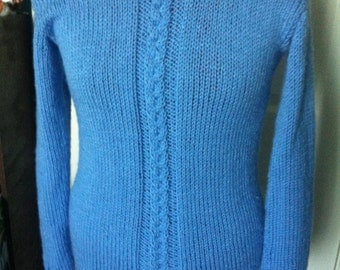 Blue Cabled Pullover Sweater