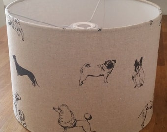 Drum Lampshade - Pooches Print Fabric