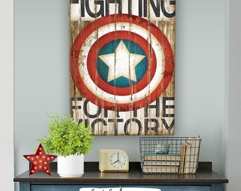 Captain America Art Print -Comic Art, Vintage, Home, Wall Decor -Superhero, Avengers, Children, Men, Women-Red, White, Blue, Brown, Black