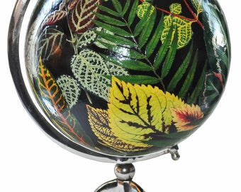 Black Globe with Decoupaged Vintage Leaves