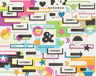It's a Colorful Life : Essentials - Everyday Digital Elements & Labels - Scrapbooking Pack